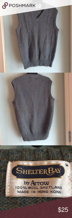 """Shelter Bay Wool Vest 100% Wool Shetland Vest Size Tag Medium. Under armpit to under armpit of front measures about 20"""". Length of back, about 28"""". This is a vintage vest but it is in EUC! Shelter Bay Vest Sweaters V-Neck"""