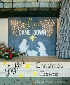 Lighted Christmas Canvas Artificial fir tree as Christmas decoration? A synthetic Christmas Tree or even a real one? Lovers o Christmas Float Ideas, Christmas Stage Design, Christmas Parade Floats, Church Christmas Decorations, Christmas Backdrops, Christmas Canvas, Christmas Nativity, Christmas Paintings, Christmas Door