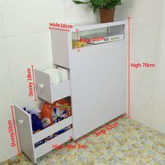 Wood Slim Bathroom Storage Cupboard Thin Cabinet Unit White Slimline