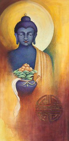 Original World Culture Painting by Sherab Shey Khandro Buddha Painting, Buddha Art, Stone Painting, Find Art, Buy Art, Yin Yang Art, Original Paintings, Original Art, Indonesian Art
