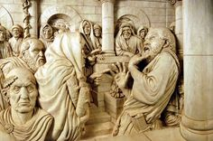 """Relief carving by Fred Cogelow - """"In Hac Petra"""""""