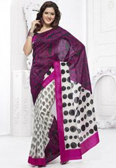 Black, Magenta and Off White Art Silk Saree with Blouse