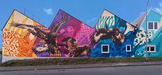 Birds of Prey Urbane Kunst, Blue Yellow, Pink Purple, Birds Of Prey, Mural Art, Graffiti Art, Color Patterns, Germany, Destinations