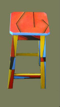 BANCO, lado A,  intervenido con abstracción geometrica, sintético sobre madera, 30x50 cm,  feb 2012 - Vendido -