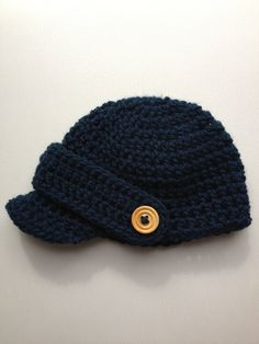 Boys newsboy cap with peak and button detail. Midnight Blue cap with wooden button detail. Other colours available. on Etsy, $18.00 AUD
