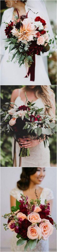 burgundy and blush wedding bouquet ideas