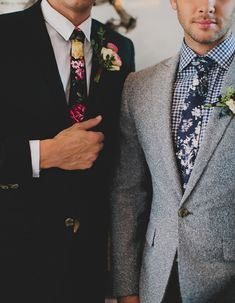Groom in floral tie // sharp dapper hipster groom guy's fashion