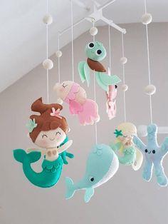 Mermaid Baby mobile Sea Creatures Mobile Ocean Mobile Cot Mobile, Baby Crib Mobile, Diy Christmas Wedding, Mobiles For Kids, Baby Mobile Felt, Baby Mermaid, Felt Decorations, Baby Room Decor, Baby Crafts