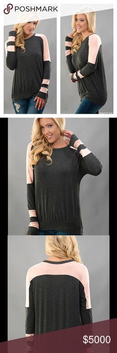 FAB GRAY & PINK COLOR BLOCK STRIPE ATHLEISURE TOP 🌸CHARCOAL GRAY & PINK STRIPE COLOR BLOCK ATHLEISURE TOP  Super Soft Cozy Long Sleeves  Charcoal Gray with Pink Stripes Trending for Spring   Sizes S, M, L Rayon/Spandex  🚫NO TRADES Peach Couture Tops Tees - Long Sleeve