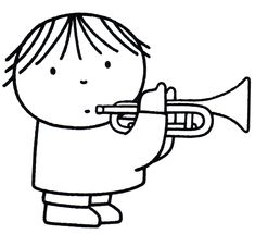 Dick Bruna kleurplaat trompet muziek. Coloring trumpet music. Colouring Pages, Coloring Books, Trumpet Music, Making Musical Instruments, Rabbit Drawing, Preschool Colors, Music Drawings, Music Crafts, Miffy