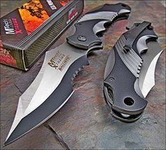 Mtech Xtreme Ballistic Black Grey Assisted Tactical Flipper Pocket Knife Two tone black coated stainless steel Half serrated, clip point blade with thumb Tactical Knives, Tactical Pocket Knife, Tactical Gear, Pocket Knives, Tactical Clothing, Best Pocket Knife, Folding Pocket Knife, Folding Knives, Cool Knives