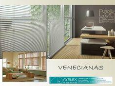 Toque diferente y decorativo a las tradicionales cortinas de tu hogar. En www.ayelex.com hacemos e instalamos todo tipo de cortinas venecianas tanto de aluminio como madera. Gran variedad de colores. Llámanos y te damos presupuesto sin compromiso al 608957050. Estamos en Málaga Capital, en la barriada del torcal.