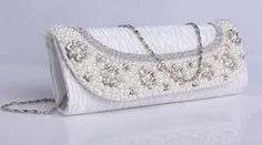 Cute White Horizontal Shape Rhinestone Satin Evening Bag for Woman Best Handbags, Clear Crystal, Evening Bags, Vintage Fashion, Vintage Style, Bling, Satin, Pearls, Crystals