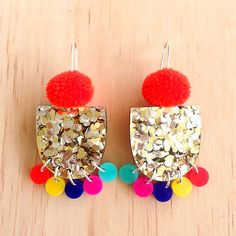 These gorgeous Pom Pae Drop Earrings will add some WOW to your outfit and to your day :D I have used super light-weight glitter acrylic to create
