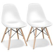 Giantex Set of 2 Mid Century Armless Modern Style Plastic Seat Wood Dowel Legs for Bedroom Accent Living Room DSW Chair, White - Best Seller List Solid Wood Dining Chairs, Upholstered Dining Chairs, Dining Chair Set, Dining Room Furniture, Mid Century Dining, Mid Century Chair, Living Room Accents, Modern Chairs, Side Chairs