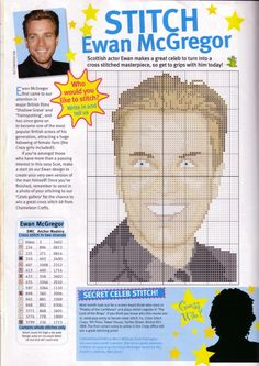 sandylandya@outlook.es Ewan McGregor Cross Stitch Chart