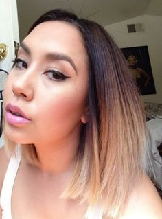 Short Straight Ombre Hairstyle for Summer