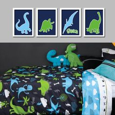Custom Personalized Name Dinosaur Boy Print Artwork Set of 4 Prints WALL Baby Decor ART Crib NURSERY Picture Nature