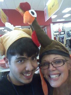 Josh and Momma, doin Thanksgiving sillies!