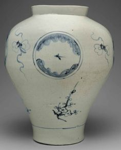 (Korea) Blue and White Porcelain Jar. Joseon Kingdom, Korea. ca 18th -19th  century CE.