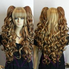 hot sell big curly wavy brown anime cosplay women's vocaloid party wig synthetic | eBay