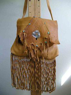 buckskin leather fringed shoulder bag by sweetdeerstudio on Etsy, $140.00