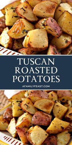 Tuscan Roasted Potatoes Entree Recipes, Side Dish Recipes, Veggie Recipes, Cooking Recipes, Dishes Recipes, Gf Recipes, Sweet Recipes, Vegetarian Recipes, Potato Side Dishes