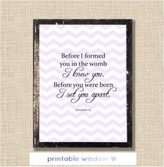 Nursery Bible Verse Print, Scripture art, Christian wall decor poster, Inspirational Jeremiah - Before I formed you - digital. $5.00, via Etsy.