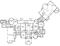 11,209 sq ft, European Chateauesque Floor Plan, bottom floor. Love the Master Bath but would add a walk in round shower instead of a steam room. (Would put a live-in house-keeper in the mother-in-law suite.)