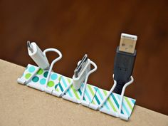 With so many new gadgets these days, wires can make your home office desk look cluttered. To keep them at bay, attach binder clips to the edge of your desk, and place the cords through the clips. This will also make it easy to plug in your electronics.