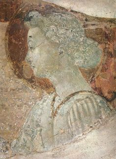 UCCELLO, Paolo An Angel (detail) c. 1435 Fresco San Miniato al Monte, Florence