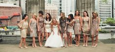 We have fallen in love with sequinned & metallic bridesmaid dresses. Silver, rose gold, champagne or bronze dresses, we are just crazy about all of them! Get inspired by our collection of mixed metallic bridesmaid dresses! Metallic Bridesmaid Dresses, Sparkly Bridesmaids, Mismatched Bridesmaid Dresses, Brides And Bridesmaids, Wedding Dresses, Alternative Bridesmaid Dresses, Party Looks, Best Bride, Sequin Cocktail Dress