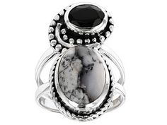 Artisan Collection Of India, Dendritic Opal With .58ctw Black Spinel And Crystal Quartz Silver Ring