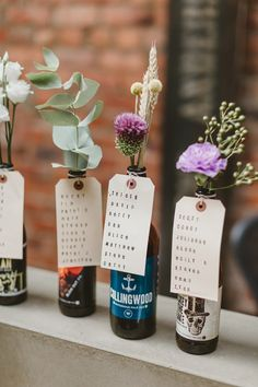 Flowers Bottles Seating Plan Table Chart Luggage Tags Wylam Brewery Wedding A. Beer Wedding, Wedding Signage, Wedding Tables, Wedding Table Plans, Brewery Wedding Reception, Wedding Favors, Flower Bottle, Wedding Bottles, Seating Plan Wedding