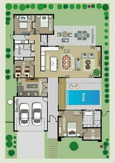 Pool House Plans, Sims House Plans, House Layout Plans, Bungalow House Plans, Family House Plans, Dream House Plans, Small House Plans, House Layouts, Home Design Floor Plans