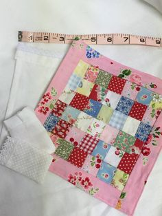 Miniature Pink Patchwork Quilt Lace Sheet от RibbonwoodCottage