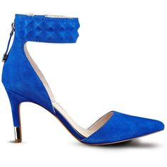 GUESS Evanne Pointed-Toe Pumps (130 CAD) ❤ liked on Polyvore featuring shoes, pumps, blue suede, sexy high heel pumps, sexy pumps, guess pumps, ankle strap high heel pumps e pointed toe high heel pumps