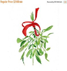 Mistletoe Art print/ mistletoe watercolor print/ mistletoe painting/ Christmas art/ Christmas print/ holiday art/ thejoyofcolor art Mistletoe Art print of original watercolor painting ,Christmas bouquet with Red ribbon, Holiday wall decor,Limited edition Diy Christmas Balls, Noel Christmas, Christmas Crafts, Christmas Sketch, Christmas Doodles, Christmas Things, Watercolor Cards, Watercolor Print, Watercolor Paintings