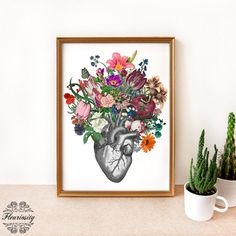 Hey, I found this really awesome Etsy listing at https://www.etsy.com/listing/260138589/anatomical-heart-and-flowers-heart-art