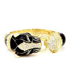 Enamel animal hinge bracelet with crystal detail.  Material: Metal, Stones
