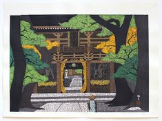 Masao IDO (*1945): Ishide temple,Shikoku Roman Letters, Japanese Prints, Woodblock Print, Temple, Objects, Artwork, Artist, Pictures, Painting