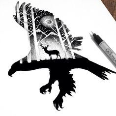 Beautiful Double Exposure Illustrations Made Using Thousands Of Tiny Dots - UltraLinx Animal Drawings, Art Drawings, Eagle Drawing, Stippling Art, Deer Tattoo, Geniale Tattoos, Illustration, Inspiration Art, Double Exposure