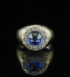 Art Deco natural sapphire and diamond signet ring. 1930's