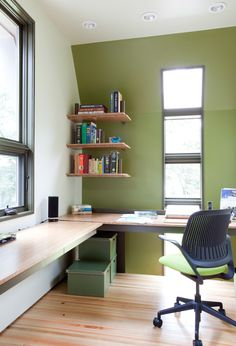wall computer table chair long desk window wall shelves boxes books glass modern home office of Very Cool Wall Computer Table Choices to Pick From