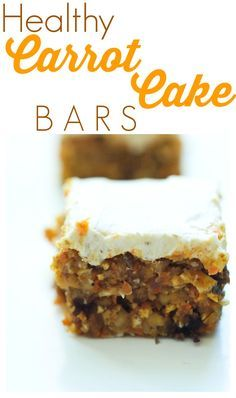 These healthy (no bake!) Carrot Cake Bars are incredible! You can't go wrong with this easy and healthy dessert recipe. The frosting makes them special. Low sugar. :)