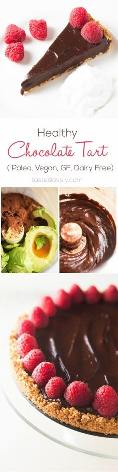 Healthy Chocolate Tart | tasteslovely.com