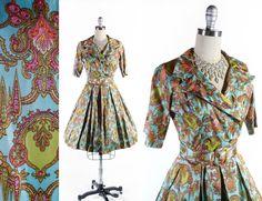 "Vintage 50's 60's Dress // Double Breasted Silky Shirt Waist Dress // Turquoise Blue/Pink/Green Full Skirt Dress - sz S - 25"" Waist by SwellFarewell on Etsy"