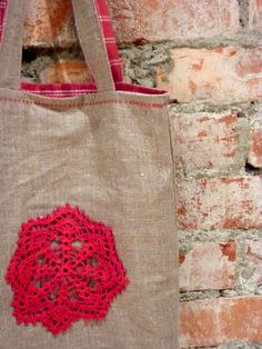 tote with crochet doily deco