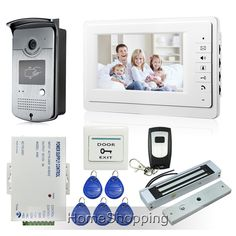 "Home New 7"" TFT Screen Video Door Phone Intercom Kit 1 White Monitor + 1 RFID Access Camera + 180kg Magnetic Lock FREE SHIPPING"