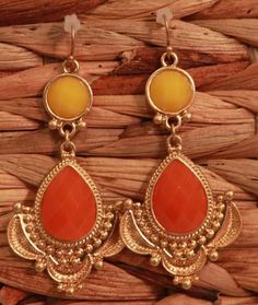 Orange and Yellow Double Bead Drop Earrings from Southern Jewelry Auctions on Facebook!